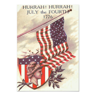 "American Flag Lady Liberty Shield 5"" X 7"" Invitation Card"