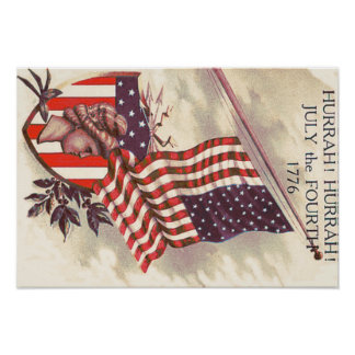 American Flag Lady Liberty Shield Poster