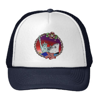 American Flag Lady Liberty USS Emory S. Navy Trucker Hat