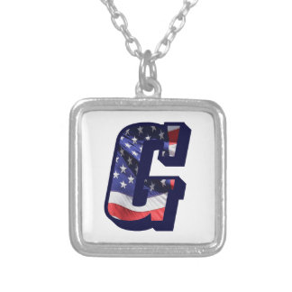 "American Flag Letter ""G"" Silver Plated Necklace"
