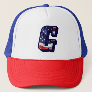 "American Flag Letter ""G"" USA Text Trucker Hat"