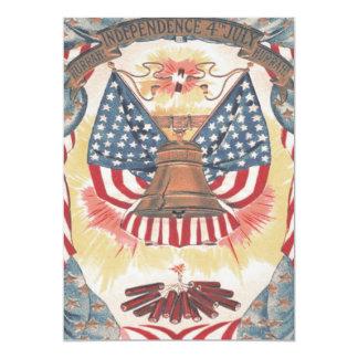 "American Flag Liberty Bell Fireworks 5"" X 7"" Invitation Card"