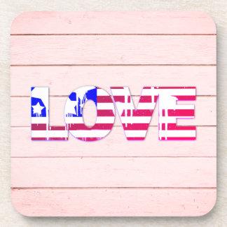 American Flag Love Coasters