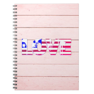 American Flag Love Notebook