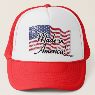 American Flag - Made in America! - distressed Trucker Hat
