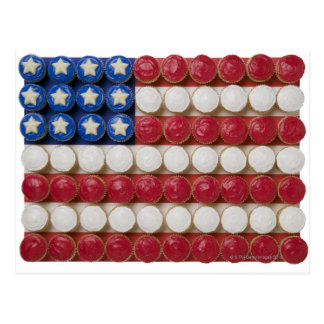 American flag made of cupcakes postcard
