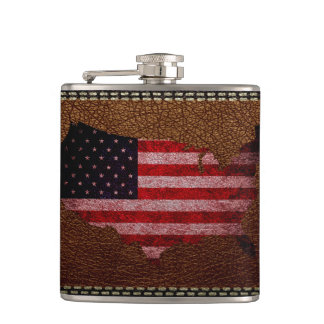 American Flag Map Hip Flask