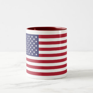 American Flag  Maroon 11 oz Two-Tone Mug
