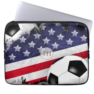 American flag men's soccer monogrammed laptop sleeve