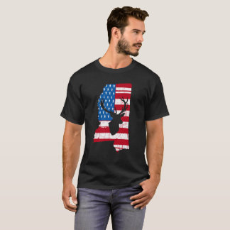 American Flag Mississippi Deer Hunting T-Shirt