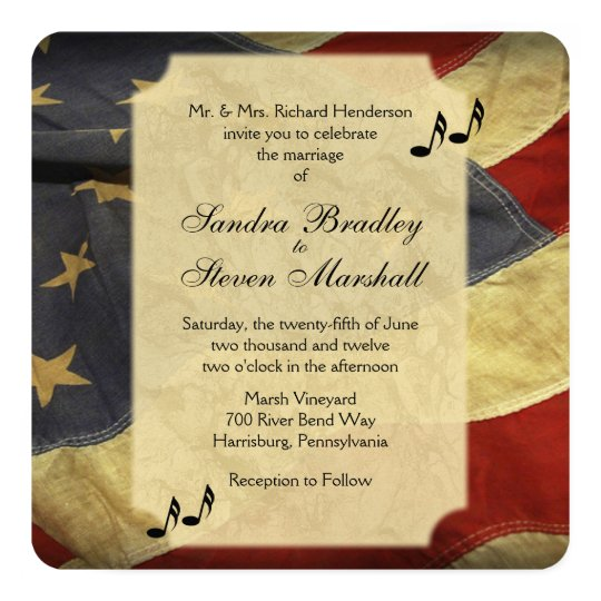 American Flag Music Wedding Invitations
