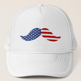 American Flag Mustache Trucker Hat