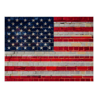 American flag on a brick wall poster