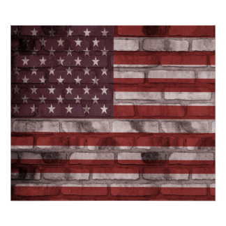 American Flag on Brick Wall Poster