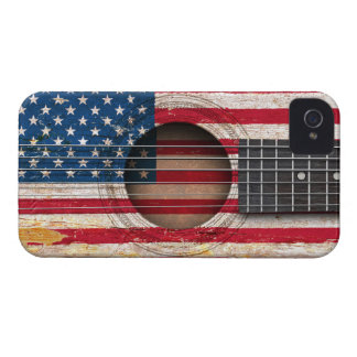 American Flag on Old Acoustic Guitar iPhone 4 Case-Mate Case