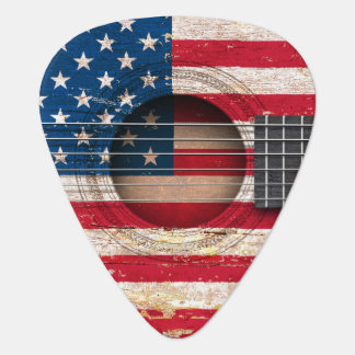 American Flag on Old Acoustic Guitar Guitar Pick
