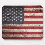 American Flag on Old Wood Grain