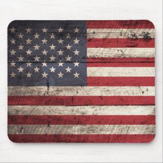 American Flag on Old Wood Grain Mousepad