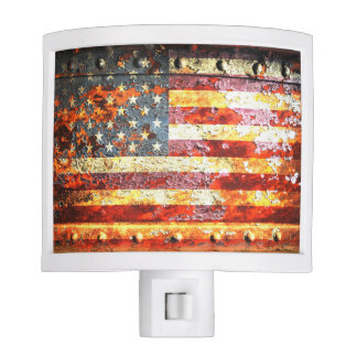 American Flag On Rusted  Door Night Light