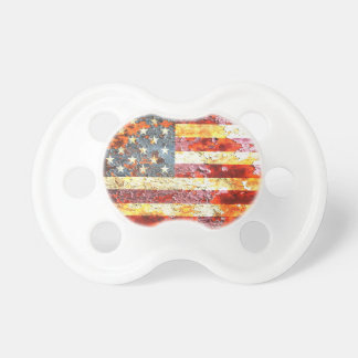 American Flag On Rusted Riveted Metal Door Baby Pacifiers