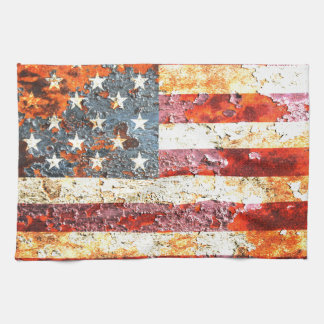American Flag On Rusted Riveted Metal Door Hand Towels