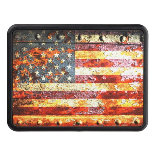 American Flag On Rusted Riveted Metal Door Trailer Hitch Cover