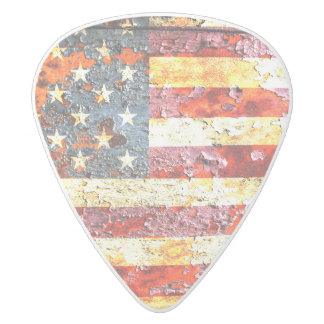 American Flag On Rusted Riveted Metal Door White Delrin Guitar Pick