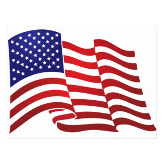 AMERICAN FLAG ONDULATING - BIG SPANGLE BANNER POSTCARD