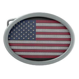 American Flag Oval Belt Buckles