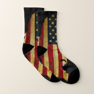 American Flag Over United States Map  Socks