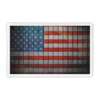 American Flag Painted Fence Acrylic Tray