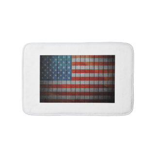 American Flag Painted Fence Bath Mat