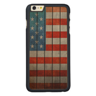 American Flag Painted Fence Carved Maple iPhone 6 Plus Case