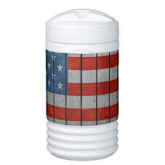 American Flag Painted Fence Drinks Cooler