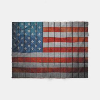 American Flag Painted Fence Fleece Blanket