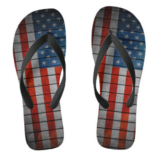 American Flag Painted Fence Flip Flops