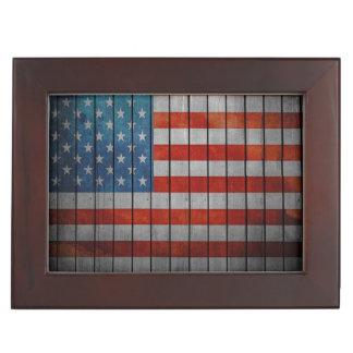 American Flag Painted Fence Keepsake Box