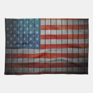 American Flag Painted Fence Kitchen Towel