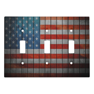 American Flag Painted Fence Light Switch Cover