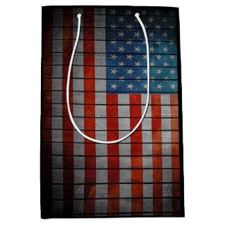 American Flag Painted Fence Medium Gift Bag