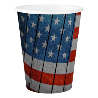 American Flag Painted Fence Paper Cup