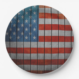 American Flag Painted Fence Paper Plate