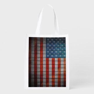 American Flag Painted Fence Reusable Grocery Bag