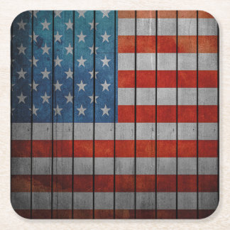 American Flag Painted Fence Square Paper Coaster