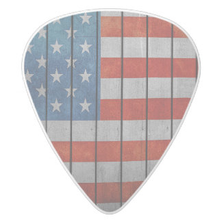 American Flag Painted Fence White Delrin Guitar Pick