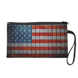 American Flag Painted Fence Wristlet