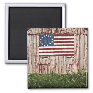 American flag painted on barn square magnet