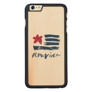 American Flag Paintstrokes Carved Maple iPhone 6 Plus Case
