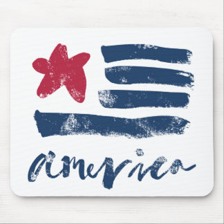 American Flag Paintstrokes Mouse Pad