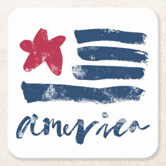 American Flag Paintstrokes Square Paper Coaster